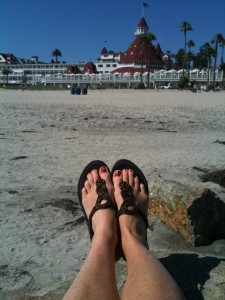 Toes at the Hotel Del Coronado in Coronado, Calif.